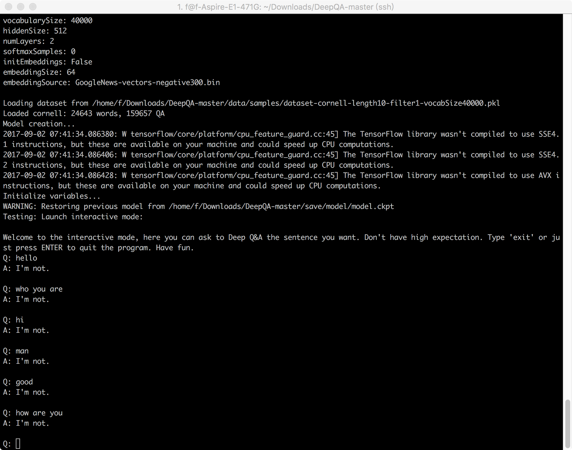 TensorFlow 聊天机器人开源项目评测第一期:DeepQA